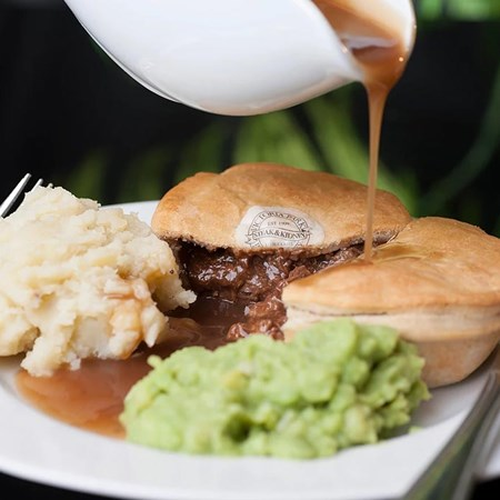 Pie on dinner plate with edible branding